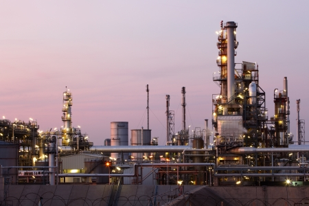oil refinery: Oil and gas refinery at twilight - Petrochemical factory Stock Photo