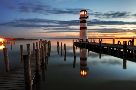 オーストリアでの夜の灯台 写真素材