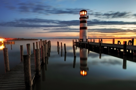 Lighthouse at night in Austria photo