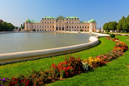 Vienna - Belvedere Palace with flowers, Austria photo