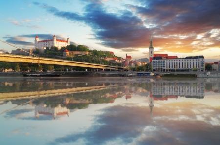 bratislava: Bratislava embakment at sunrise - Slovakia Stock Photo
