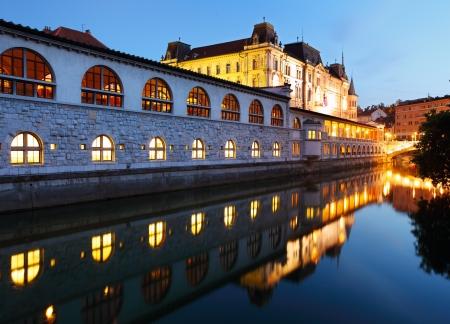 ljubljana: Ljubljana at night Stock Photo