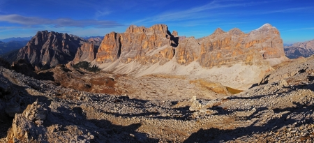 dolomite: Panoramic view of Dolomiti Mountains - Group Tofana di Tores - Italy Stock Photo
