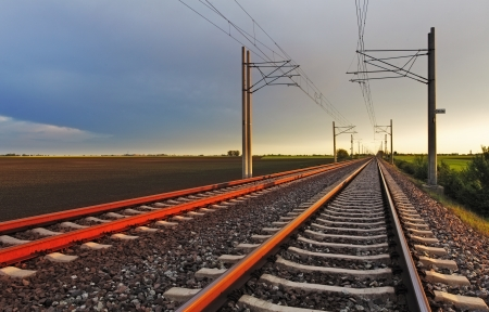 Railroad at sunset photo