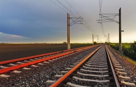 railway track: Railroad at sunset