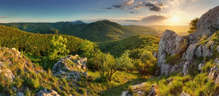 Mountain forest panorama at sunset - Slovakia