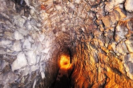 tunneling: Mine with railroad track - underground mining
