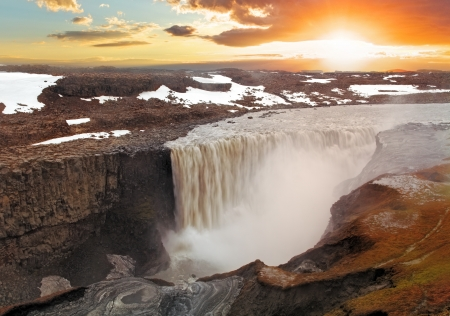 fall sunrise: Iceland waterfall - Dettifoss
