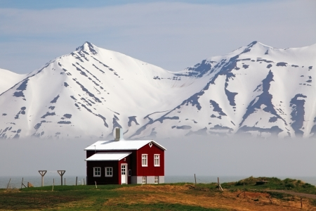 House at fjord of Iceland