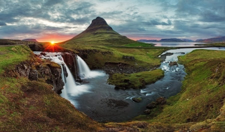 waterfall with sky: Iceland Landscape spring panorama at sunset -  kirkjufell Stock Photo