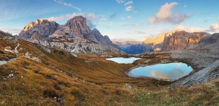 dolomite: Italy Alps Dolomites - Tre Cime - Lago dei Piani Stock Photo