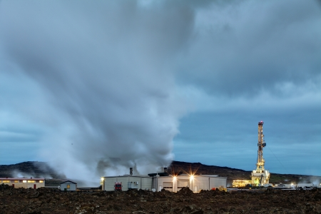 Geothermal power plant at night photo