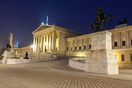 Austrian Parliament in Vienna at night, Austria photo