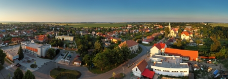small country town: Village Panorama - Cifer in Slovakia Stock Photo