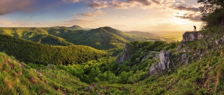 carpathian mountains: Green Rocky moutain at sunset