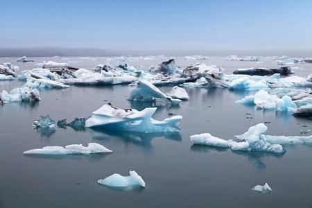 jokulsarlon: Blue icebergs floating in Jokulsarlon glacial lagook, Iceland
