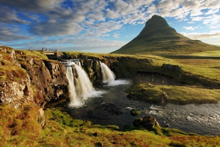 Iceland Landscape spring panorama at sunrise -  kirkjufell photo