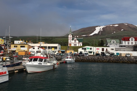 The arctic harbor of Husavik along the Skjalfandi bay, Iceland