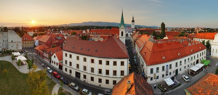 Zagreb panorama at sunset