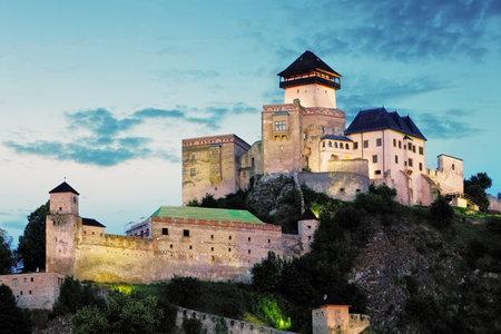 Slovakia castle at night, Trencin