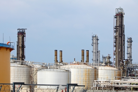 Pipes and tanks of oil refinery - factory photo