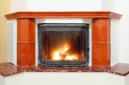 fire wood heat: Fireplace in house interior