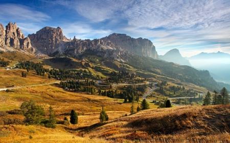 gardena: Italy Dolomites moutnain at sunrise - Road to passo gardena