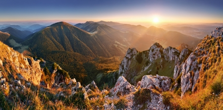 Slovakia mountain peak Rozsutec at sunset - panorama photo