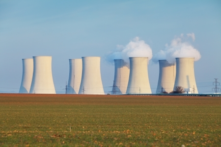 Nuclear power plant with clouds Stock Photo - 22316273