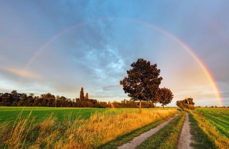 arco iris: Arco iris sobre el campo de la carretera Foto de archivo