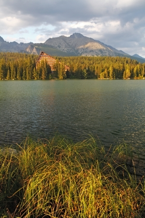 Nature mountain scene with beautiful lake in Slovakia Tatra - Strbske pleso photo