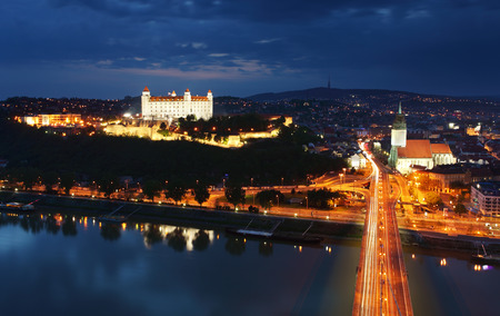Bratislava at twilght from new bridge photo