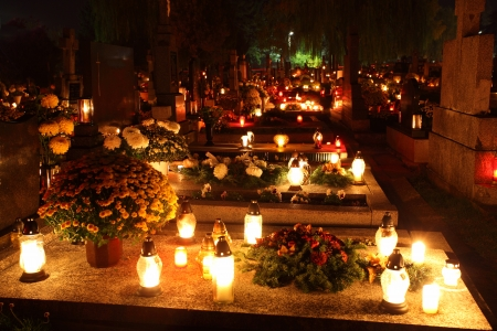 christian halloween: Cemetery at night