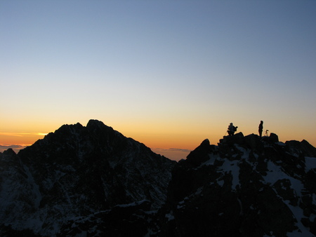 Photographer on top in sunrise photo
