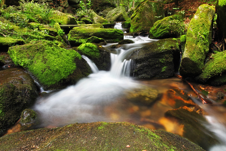 Waterfall in Resov in Moravia, Czech republic photo