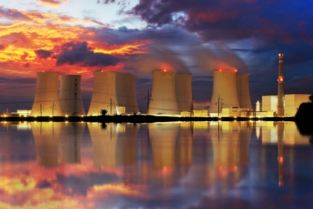 nuclear: Nuclear power plant by night