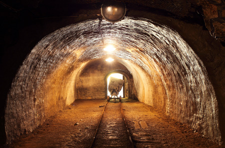 tunneling: train in mine, carts in gold, silver and copper mine