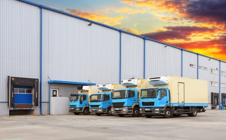Truck at warehouse building
