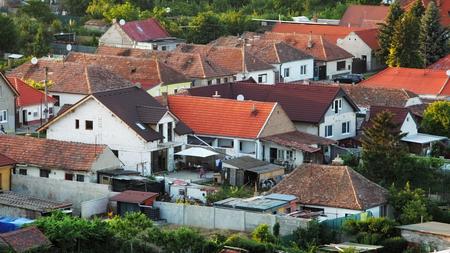 rural development: Houses - aerial view in village Cifer, Slovakia