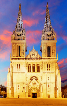 Zagreb Cathedral with Archbishops Palace. Croatia. photo