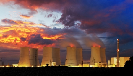 atomic energy: Nuclear power plant by night