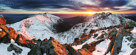 Winter mountain panorama landscape at sunset, Slovakia - West Tatras photo