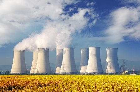 cooling towers: Nuclear power plant with a red field