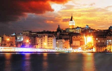 Istanbul at a dramatic sunset with clouds Stock Photo