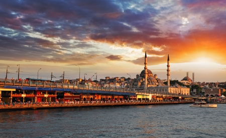 istanbul night: Istanbul at a dramatic sunset with sun Stock Photo