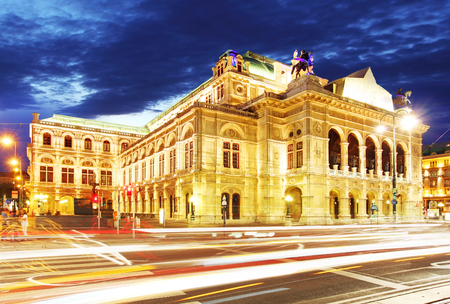 music hall: Vienna state opera at night