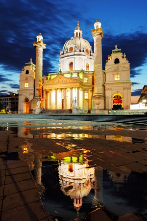 st charles: Vienna Karlskirche at a inght in Austria Stock Photo