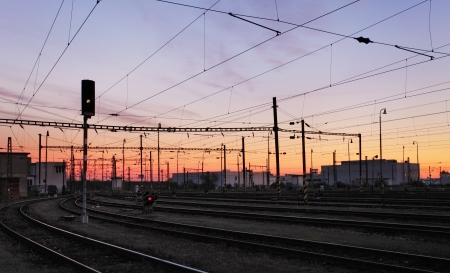 Railway Tracks at a pink  colorful sunset photo