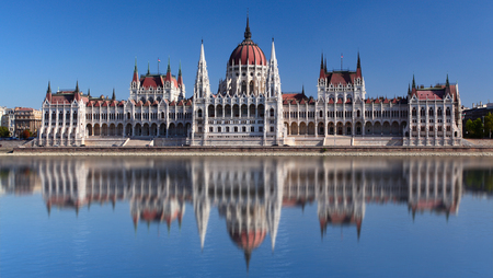Budapest at day with reflection in water, Hungary