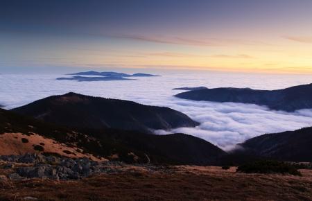 ini: Mountain panorama at sunset - Low Tatras ini Slovakia